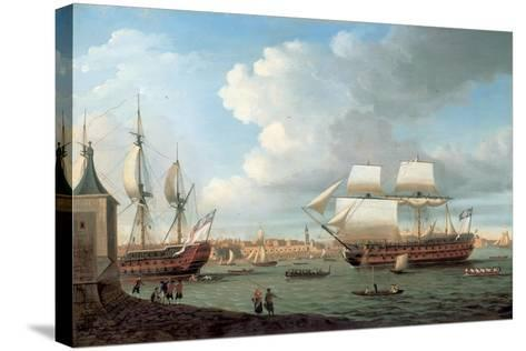Foudroyant and Pegase Entering Portsmouth Harbour, 1782-Dominic Serres-Stretched Canvas Print