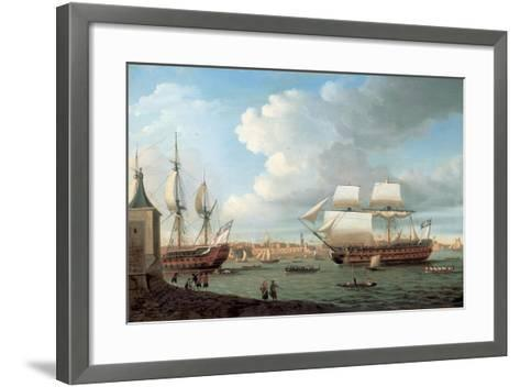 Foudroyant and Pegase Entering Portsmouth Harbour, 1782-Dominic Serres-Framed Art Print