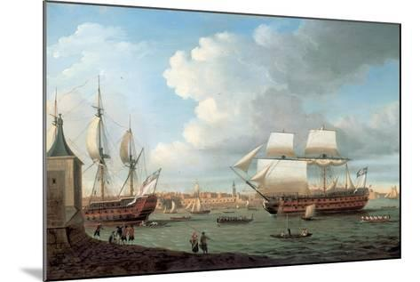 Foudroyant and Pegase Entering Portsmouth Harbour, 1782-Dominic Serres-Mounted Giclee Print
