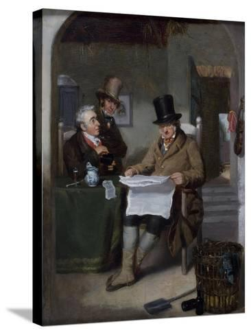 Reading the News-David Wilkie-Stretched Canvas Print