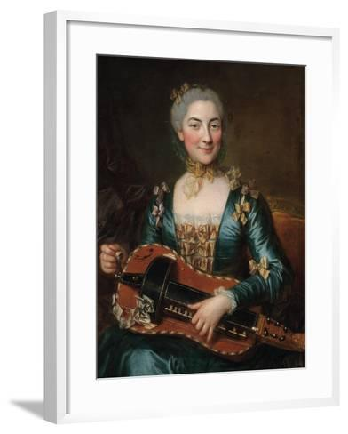 Portrait of a Lady Playing a Hurdy-Gurdy-Donat Nonotte-Framed Art Print