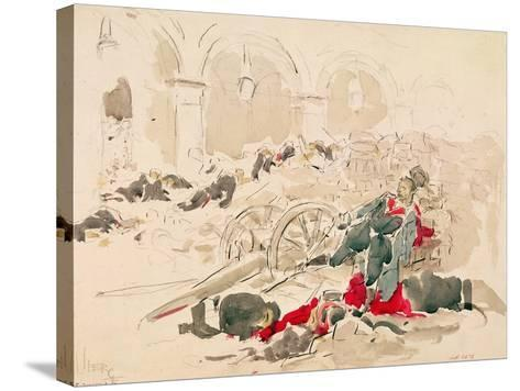 Barricade on the Rue De Rivoli During the Paris Commune, 1871-Daniel Urrabieta Vierge-Stretched Canvas Print