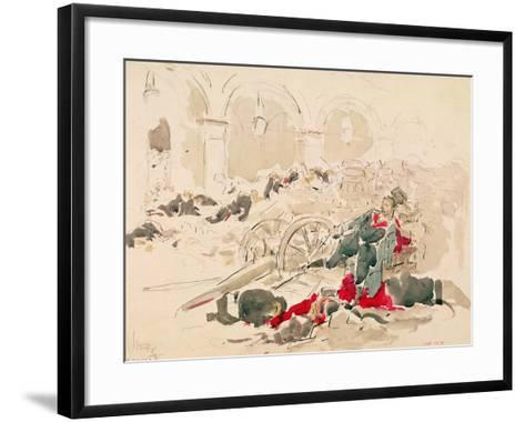 Barricade on the Rue De Rivoli During the Paris Commune, 1871-Daniel Urrabieta Vierge-Framed Art Print
