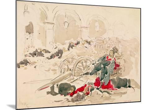 Barricade on the Rue De Rivoli During the Paris Commune, 1871-Daniel Urrabieta Vierge-Mounted Giclee Print