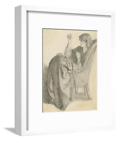 Lachesis: Study of Jane Morris Seated in a Chair Sewing, 1860s-Dante Gabriel Charles Rossetti-Framed Art Print