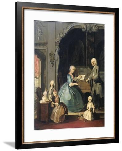 Family Group Near a Harpsichord, 1739-Cornelis Troost-Framed Art Print