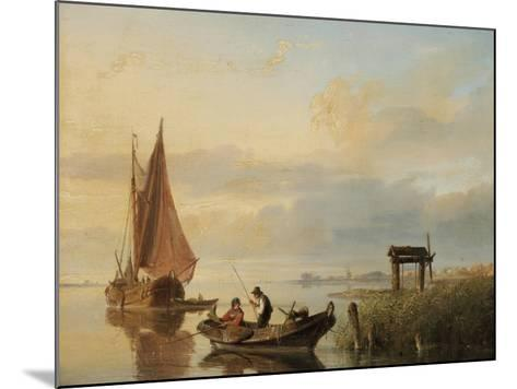 Fishing Vessels at Sunset-Cornelius Springer-Mounted Giclee Print