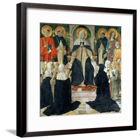 St. Catherine of Siena as the Spiritual Mother of the 2nd and 3rd Orders of St. Dominic-Cosimo Rosselli-Framed Art Print