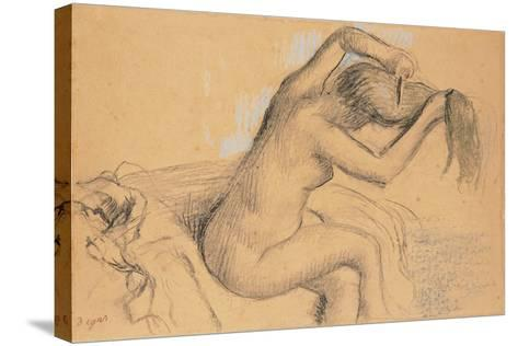 Naked Woman Styling Her Hair; Femme Nue Se Coiffant-Edgar Degas-Stretched Canvas Print