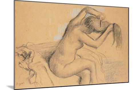 Naked Woman Styling Her Hair; Femme Nue Se Coiffant-Edgar Degas-Mounted Giclee Print