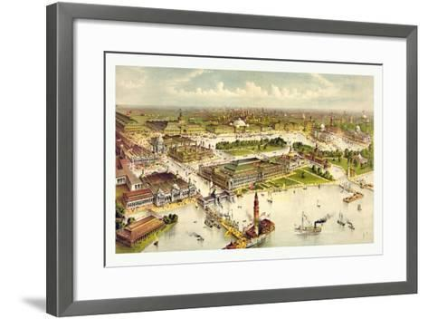 Grand Birds Eye View of the Grounds and Buildings of the Great Columbian Exposition at Chicago-Currier & Ives-Framed Art Print
