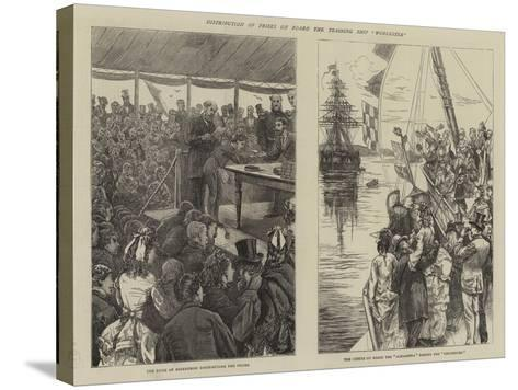 Distribution of Prizes on Board the Training Ship Worcester-Edward Frederick Brewtnall-Stretched Canvas Print