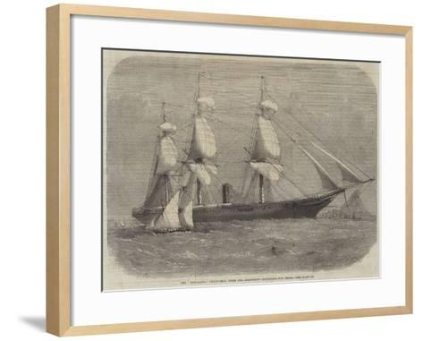 The Himalaya Troop-Ship, with the Armstrong Batteries for China-Edwin Weedon-Framed Art Print