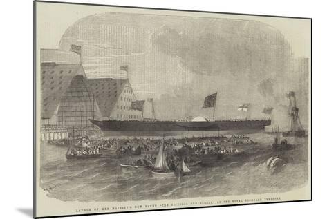 Launch of Her Majesty's New Yacht, The Victoria and Albert, at the Royal Dockyard, Pembroke-Edwin Weedon-Mounted Giclee Print