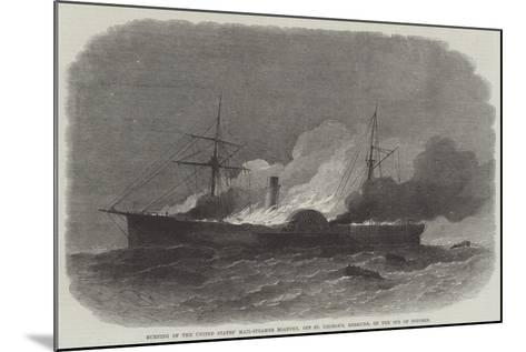 Burning of the United States' Mail-Steamer Roanoke, Off St George'S, Bermuda, on 9 October-Edwin Weedon-Mounted Giclee Print
