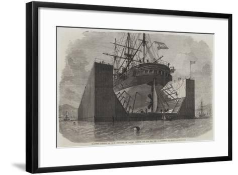 Floating Pontoon or Dock Prepared by Messers Rennie and Son for the Government of Spain-Edwin Weedon-Framed Art Print