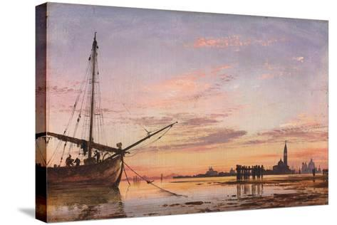 View across the Lagoon, Venice, Sunset, 1850-Edward William Cooke-Stretched Canvas Print