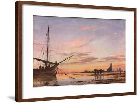 View across the Lagoon, Venice, Sunset, 1850-Edward William Cooke-Framed Art Print