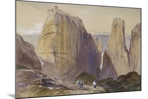 The Monastery of Meteora (Watercolour and Bodycolour on Grey-Blue Laid Paper)-Edward Lear-Mounted Giclee Print