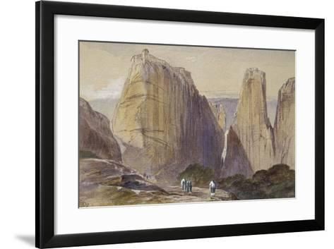 The Monastery of Meteora (Watercolour and Bodycolour on Grey-Blue Laid Paper)-Edward Lear-Framed Art Print