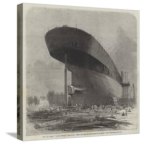 The Leviathan (Great Eastern) Steam-Ship, Stern, and Boss for the Blades of the Screw-Edwin Weedon-Stretched Canvas Print