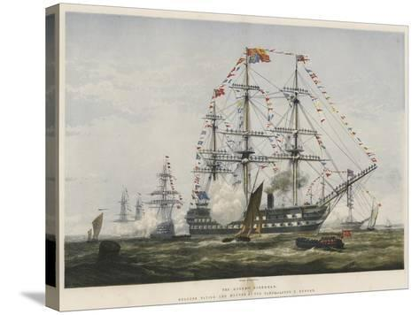 The Queen's Birthday, Colours Flying and Manned at the Yards-Edward Duncan-Stretched Canvas Print