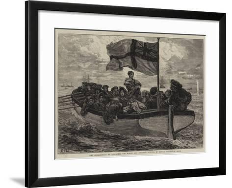 The Bombardment of Cartagena, the Women and Children Rescued by British Men-Of-War Boats-Edward John Gregory-Framed Art Print