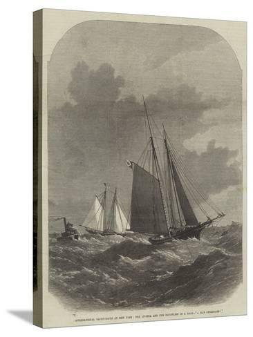 International Yacht-Races at New York, the Livonia and the Dauntless in a Gale, A Man Overboard!-Edwin Weedon-Stretched Canvas Print