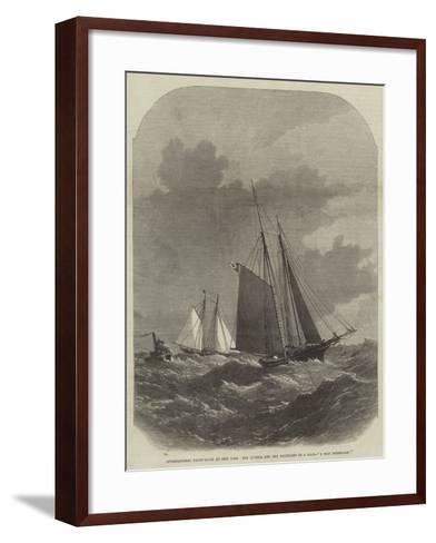 International Yacht-Races at New York, the Livonia and the Dauntless in a Gale, A Man Overboard!-Edwin Weedon-Framed Art Print