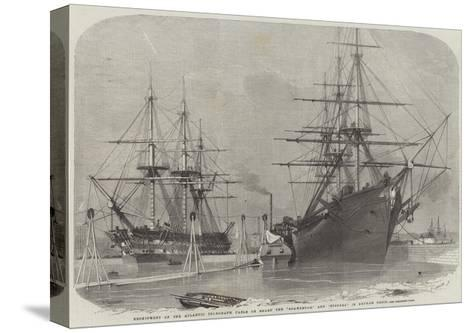 Reshipment of the Atlantic Telegraph Cable on Board the Agamemnon, and Niagara in Keyham Basin-Edwin Weedon-Stretched Canvas Print