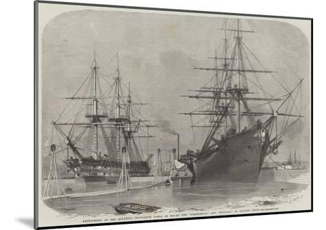 Reshipment of the Atlantic Telegraph Cable on Board the Agamemnon, and Niagara in Keyham Basin-Edwin Weedon-Mounted Giclee Print