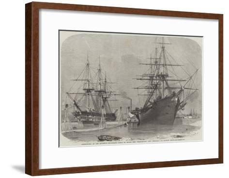 Reshipment of the Atlantic Telegraph Cable on Board the Agamemnon, and Niagara in Keyham Basin-Edwin Weedon-Framed Art Print