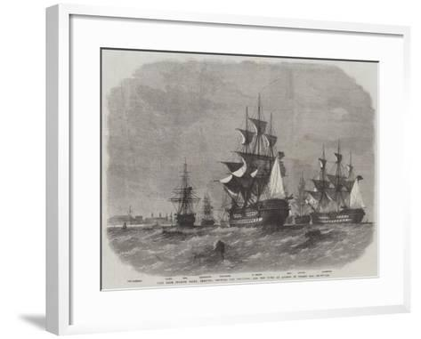 View from Spanish Point, Bermuda, Showing the Dockyard, and the Fleet at Anchor in Grassy Bay-Edwin Weedon-Framed Art Print
