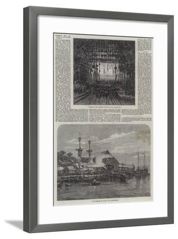 Exterior and Interior of the Theatre at Macao-Eduard Hildebrandt-Framed Art Print