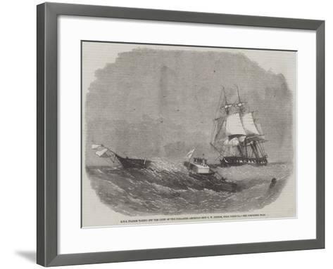 HMS Diadem Taking Off the Crew of the Dismasted American Ship C W Connor, Near Bermuda-Edwin Weedon-Framed Art Print