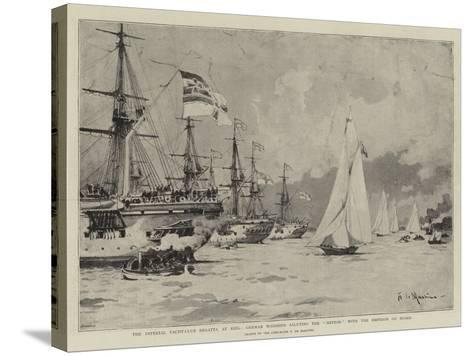 The Imperial Yacht-Club Regatta at Kiel-Eduardo de Martino-Stretched Canvas Print