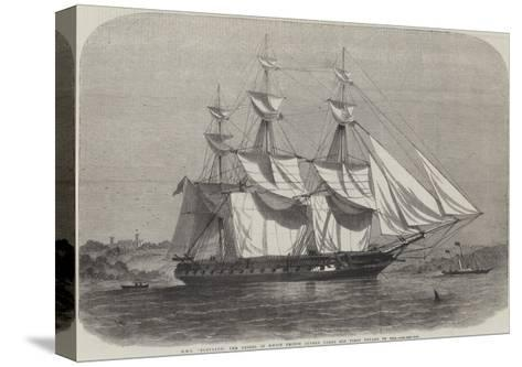 HMS Euryalus, the Vessel in Which Prince Alfred Takes His First Voyage to Sea-Edwin Weedon-Stretched Canvas Print