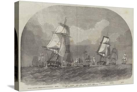 The Baltic Fleet Leaving Spithead-Edwin Weedon-Stretched Canvas Print