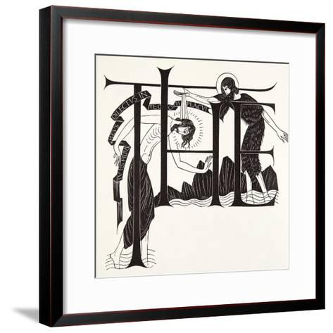 The Baptism of Jesus by John the Baptist from the Four Gospels, 1931-Eric Gill-Framed Art Print