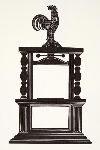 Cockerel and the Printing Press, 1926-Eric Gill-Stretched Canvas Print