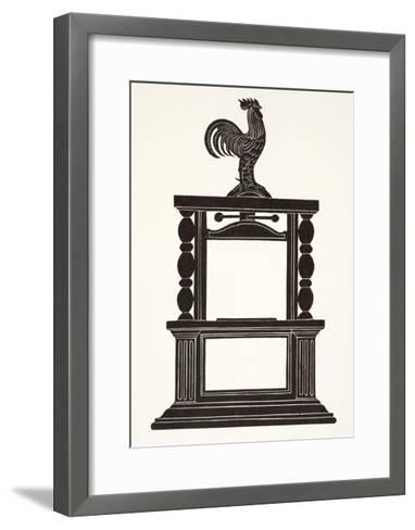 Cockerel and the Printing Press, 1926-Eric Gill-Framed Art Print
