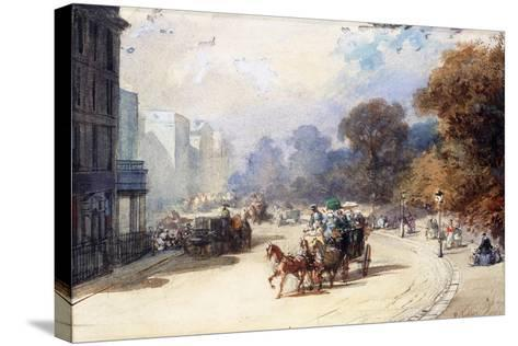 A Carriage at Hyde Park Corner, London, (Pencil, W/C, Bodycolour Heightened with White)-Eugene-Louis Lami-Stretched Canvas Print