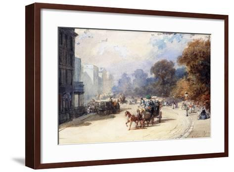 A Carriage at Hyde Park Corner, London, (Pencil, W/C, Bodycolour Heightened with White)-Eugene-Louis Lami-Framed Art Print