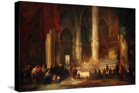 Procession in a Cathedral, C.1860-Eugenio Lucas velazquez-Stretched Canvas Print