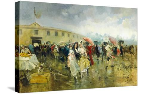 Outside the Plaza De Toros, Madrid, 1897-Eugenio Lucas Villamil-Stretched Canvas Print