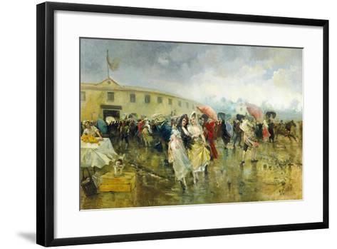 Outside the Plaza De Toros, Madrid, 1897-Eugenio Lucas Villamil-Framed Art Print