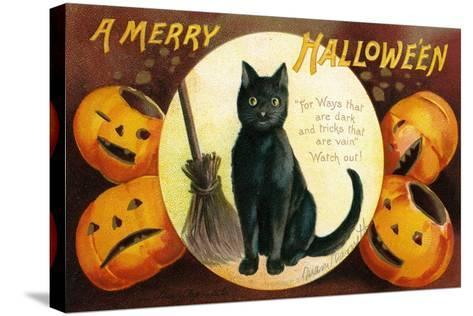 Halloween Greetings with Black Cat and Carved Pumpkins, 1909-Ellen Hattie Clapsaddle-Stretched Canvas Print