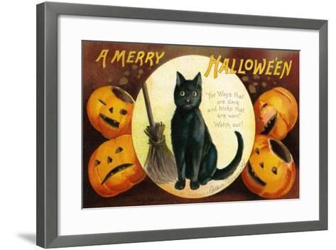 Halloween Greetings with Black Cat and Carved Pumpkins, 1909-Ellen Hattie Clapsaddle-Framed Art Print