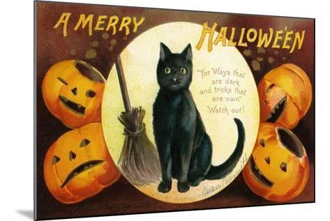 Halloween Greetings with Black Cat and Carved Pumpkins, 1909-Ellen Hattie Clapsaddle-Mounted Giclee Print