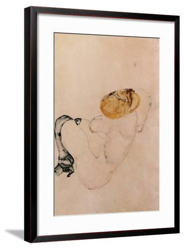 Scared, Crouching Young Girl, 1912-Egon Schiele-Framed Art Print